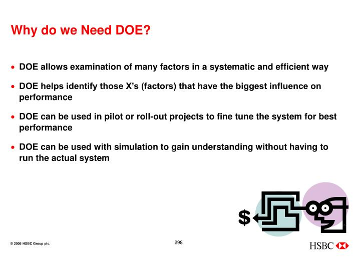 Why do we Need DOE?