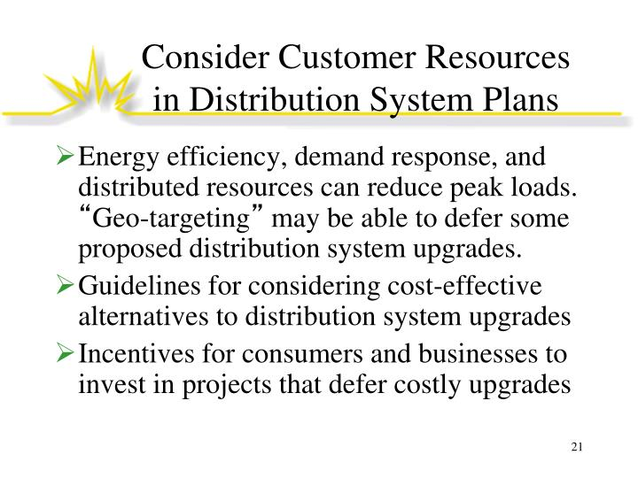 Consider Customer Resources in Distribution System Plans