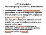 atp synthesis by 2 oxidative phosphorylation chemiosmosis