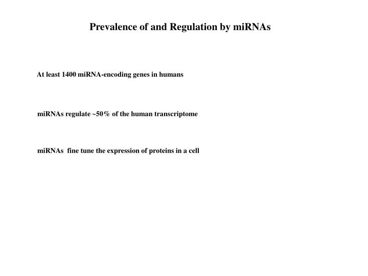 Prevalence of and Regulation by miRNAs