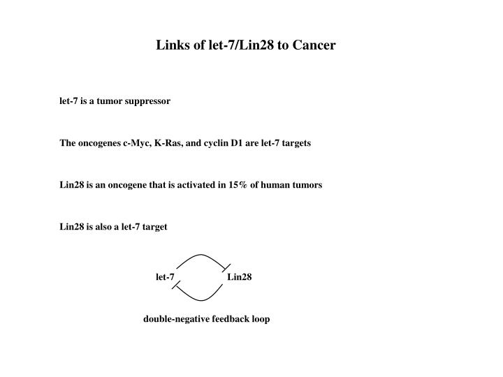 Links of let-7/Lin28 to Cancer