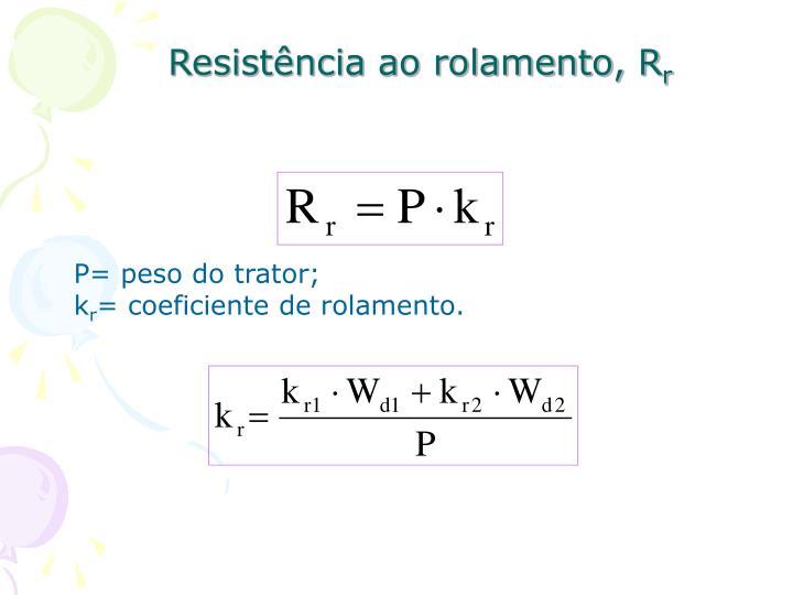 Resistência ao rolamento, R