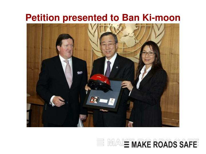 Petition presented to Ban Ki-moon