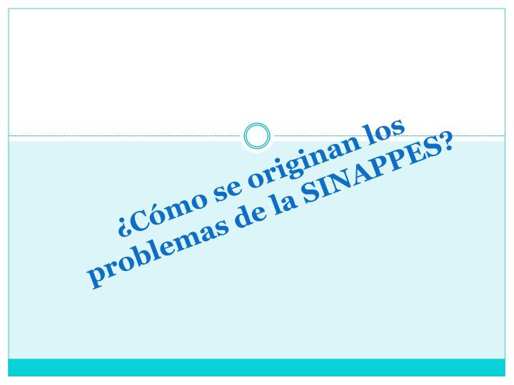 ¿Cómo se originan los problemas de la SINAPPES?