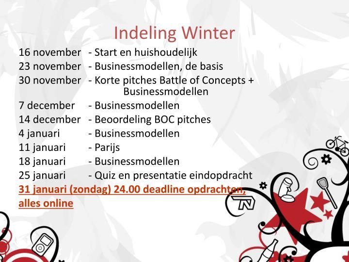 Indeling Winter
