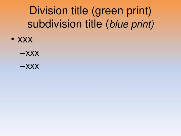 Division title (green print)