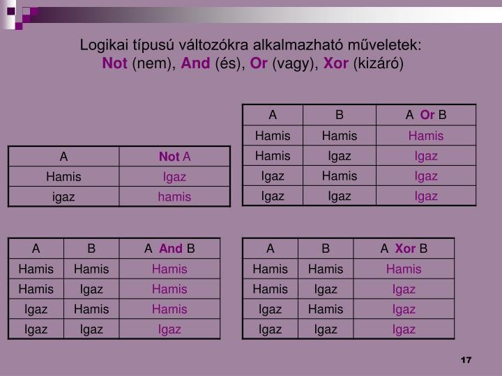 Logikai típusú változókra alkalmazható műveletek: