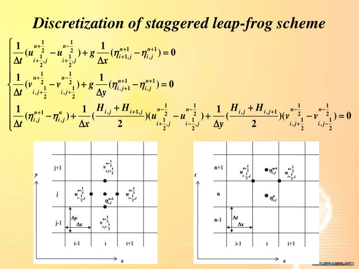 Discretization of staggered leap-frog scheme