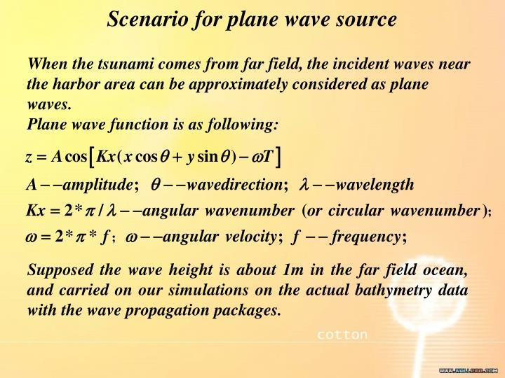 Scenario for plane wave source