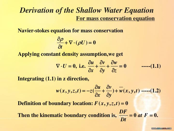 Derivation of the Shallow Water Equation