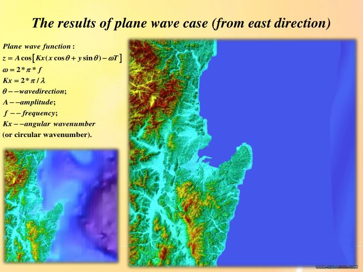 The results of plane wave case (from east direction)