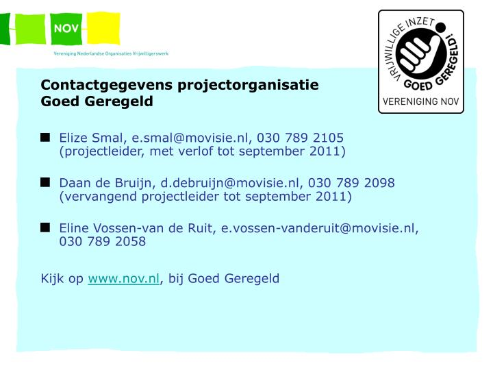 Contactgegevens projectorganisatie