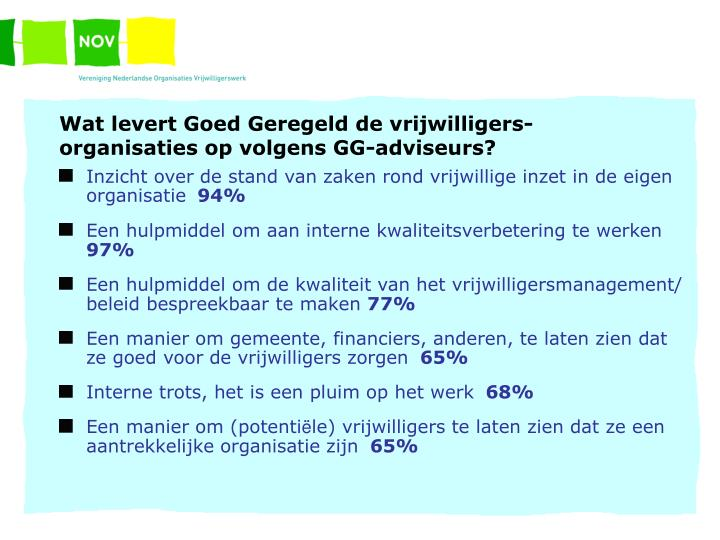 Wat levert Goed Geregeld de vrijwilligers- organisaties op volgens GG-adviseurs?