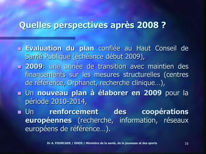 Quelles perspectives après 2008 ?