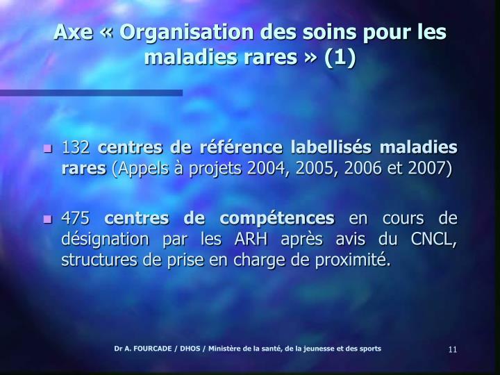 Axe «Organisation des soins pour les maladies rares» (1)
