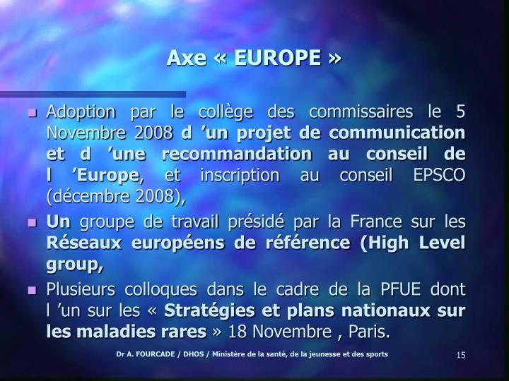 Axe «EUROPE »