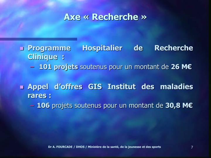 Axe «Recherche»