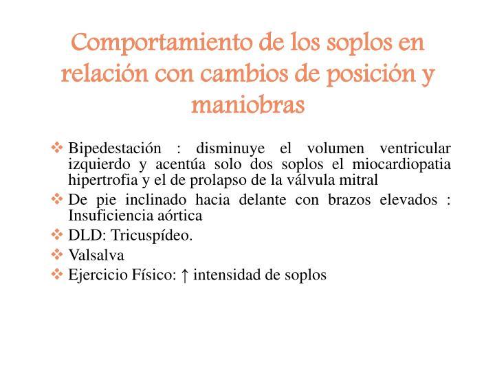 Comportamiento de los soplos en relación con cambios de posición y maniobras