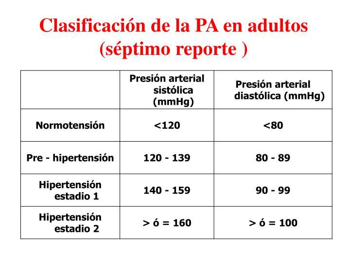 Clasificación de la PA en adultos       (séptimo reporte