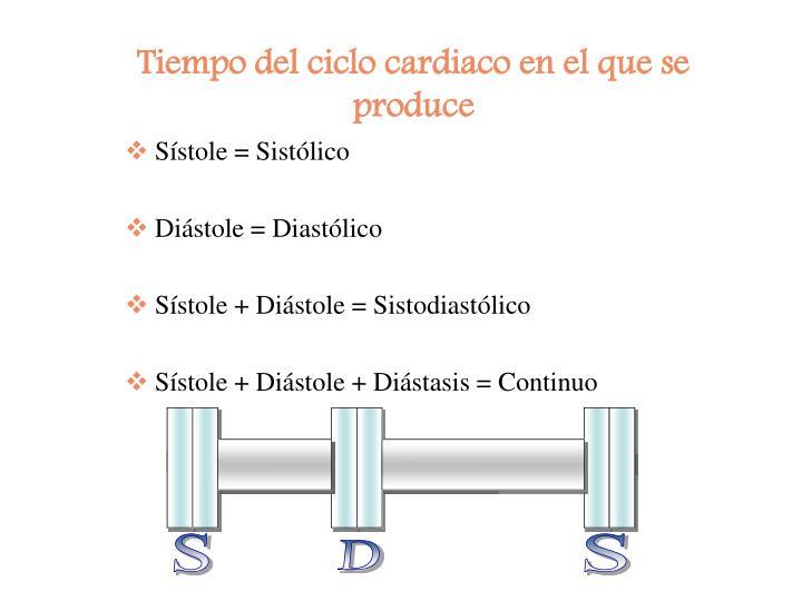 Tiempo del ciclo cardiaco en el que se produce