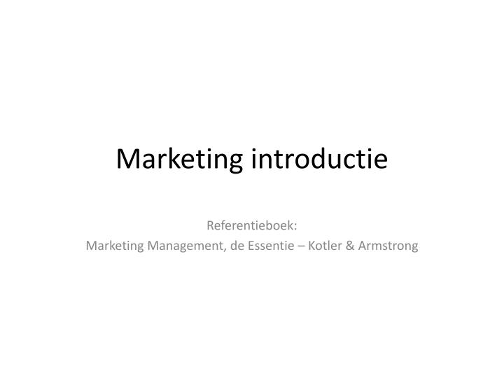 Marketing introductie
