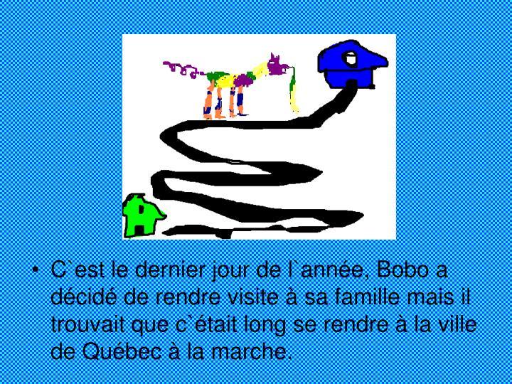 C`est le dernier jour de l`année, Bobo a décidé de rendre visite à sa famille mais il trouvait que c`était long se rendre à la ville de Québec à la marche.