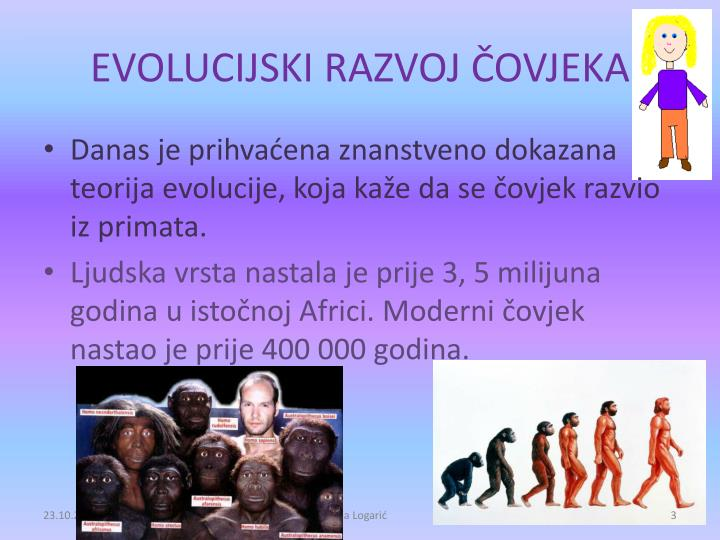 EVOLUCIJSKI RAZVOJ ČOVJEKA