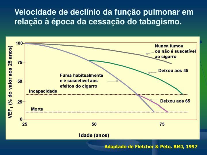 Velocidade de declínio da função pulmonar em relação à época da cessação do tabagismo.