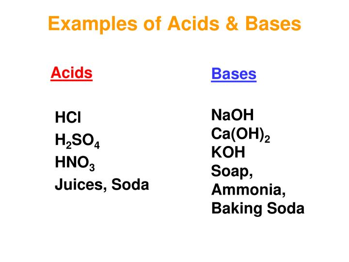 Examples of Acids