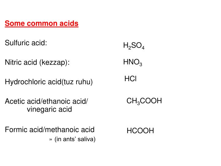 Some common acids