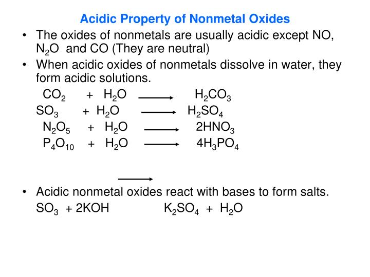 Acidic Property of Nonmetal Oxides