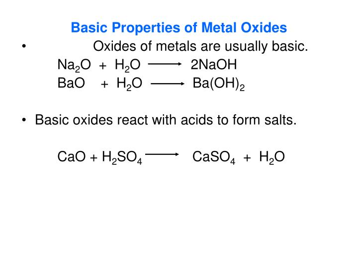 Basic Properties of Metal Oxides