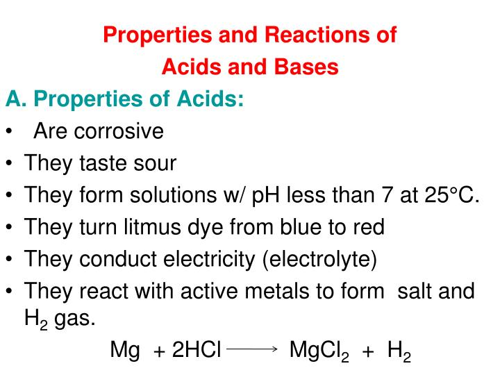 Properties and Reactions of