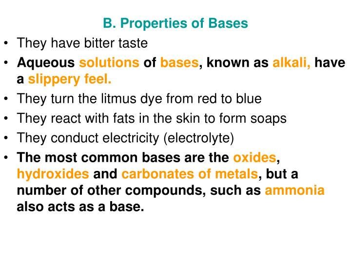 B. Properties of Bases
