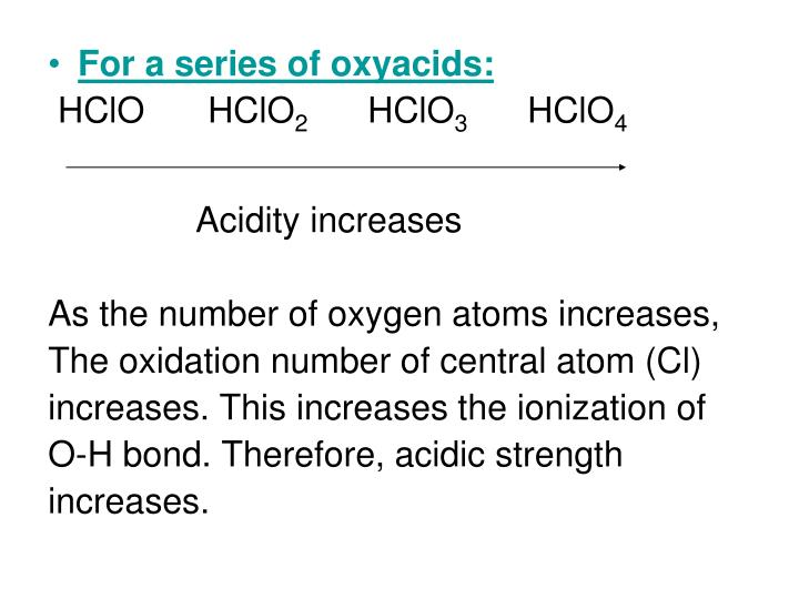 For a series of oxyacids:
