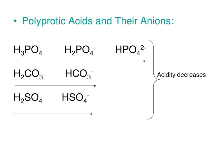 Polyprotic Acids and Their Anions: