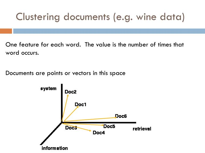 Clustering documents (e.g. wine data)