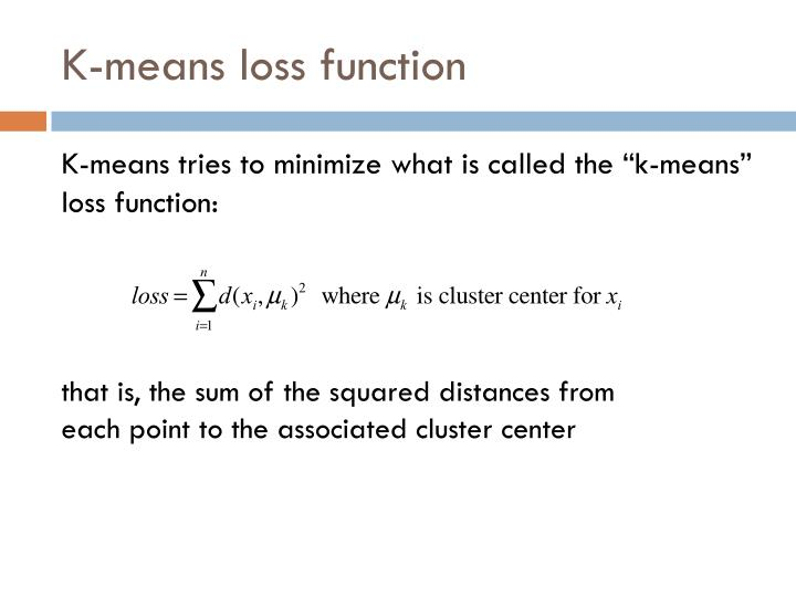 K-means loss function