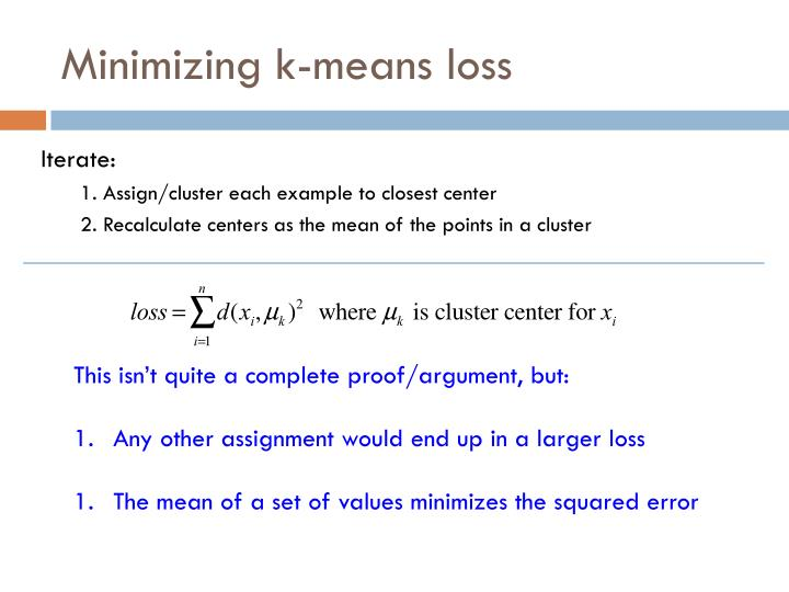 Minimizing k-means loss