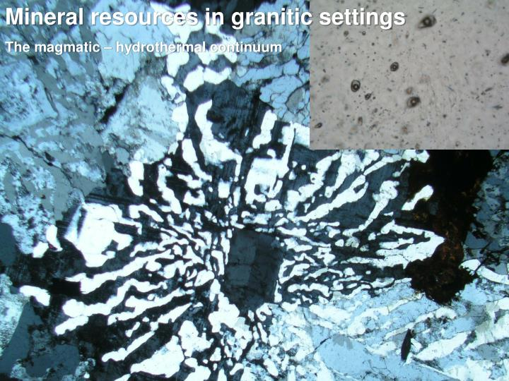 Mineral resources in granitic settings