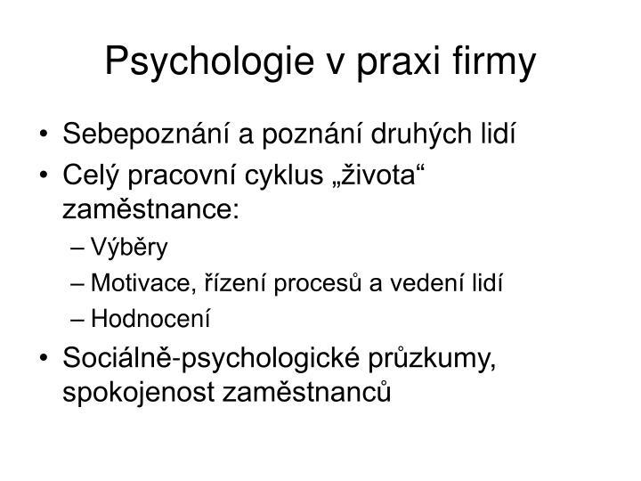 Psychologie v praxi firmy