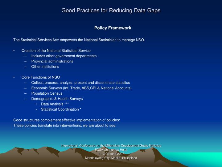 Good Practices for Reducing Data Gaps