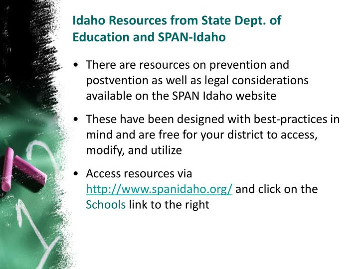Idaho Resources from State Dept. of Education and SPAN-Idaho