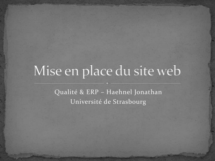 Mise en place du site web