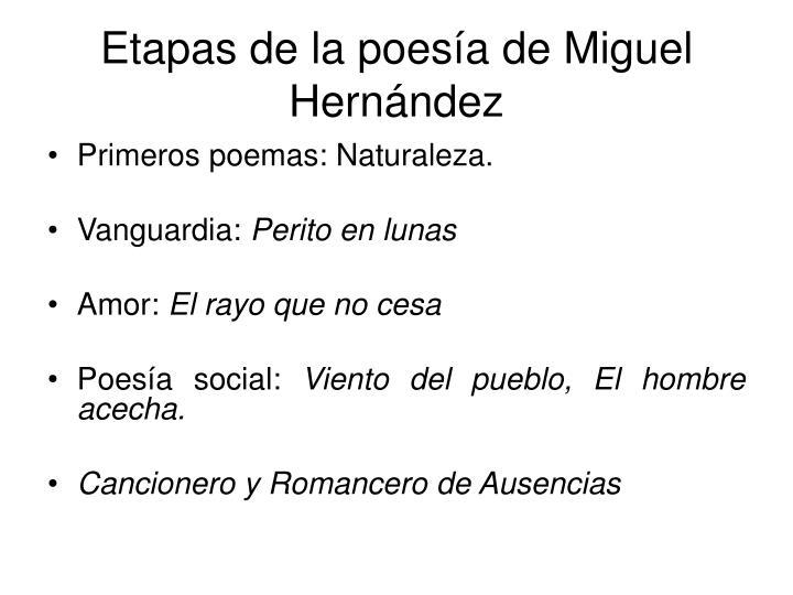 Etapas de la poesía de Miguel Hernández