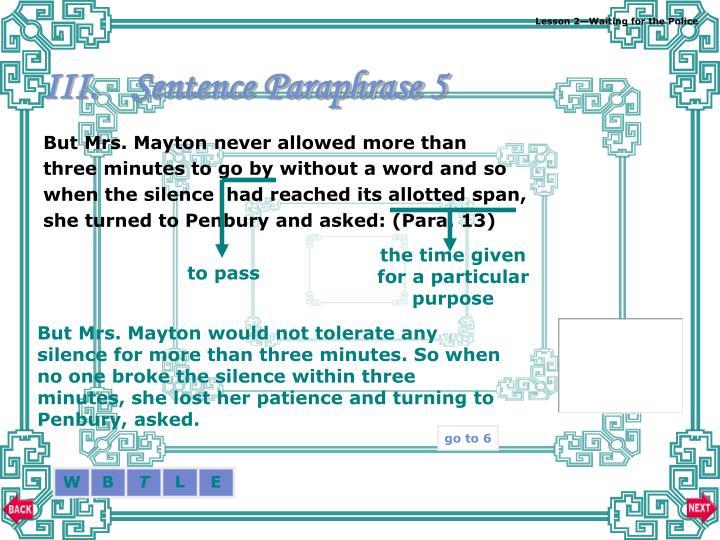 Sentence Paraphrase 5