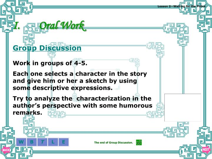 Oral Work