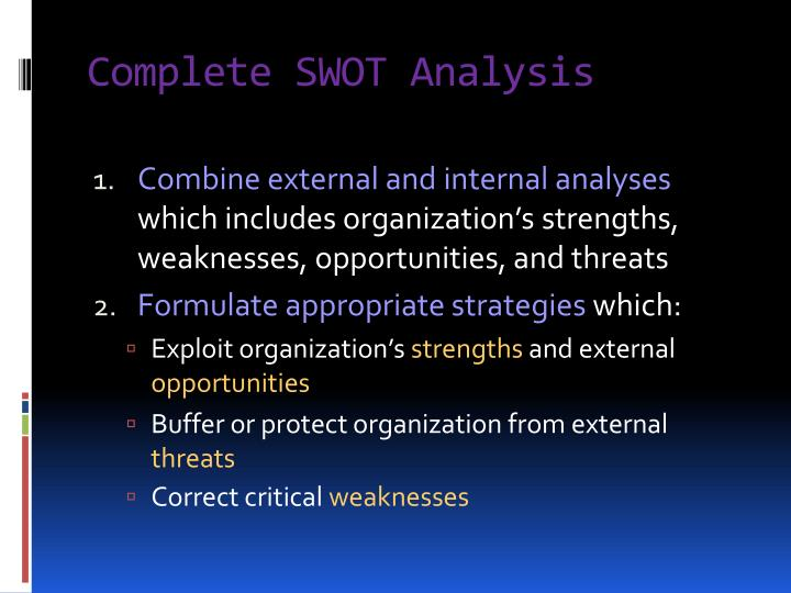 Complete SWOT Analysis
