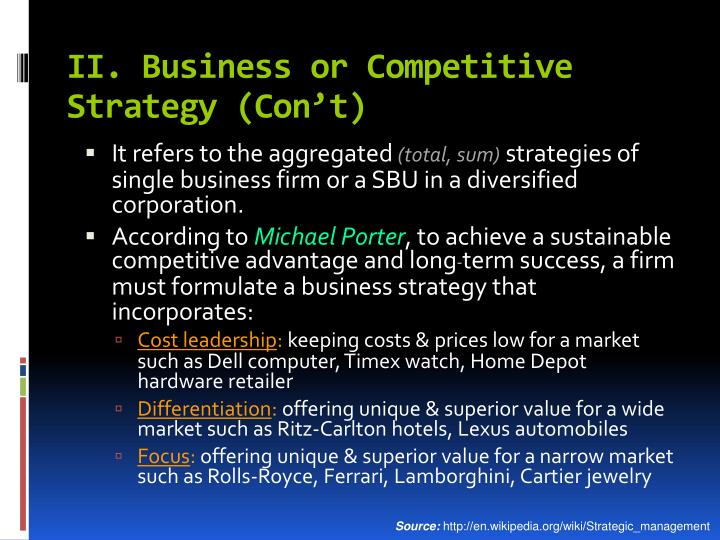 II. Business or Competitive Strategy (Con't)