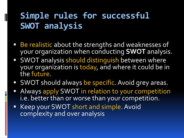 Simple rules for successful SWOT analysis
